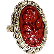 Vintage Chinese Carved Cinnabar Flower Silver Ring