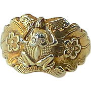 Vintage Chinese Gold Vermeil Frog and Flower Ring