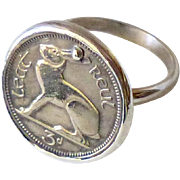 Vintage Irish Coin, Sterling Silver Ring