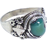 Vintage Tibetan Turquoise and Silver Ring
