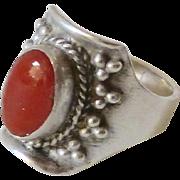 Vintage Tibetan Red Coral Ring