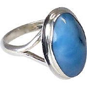 Vintage Blue Larimar and Sterling Silver Ring
