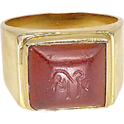 Antique Carnelian Intaglio 18k Gold Ring