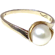 Vintage Cultured Pearl, 10K Yellow Gold Ring