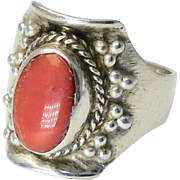 Vintage Tibetan Red Coral and Silver Ring