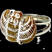 Vintage Carved Brown Jade Bat Silver Ring