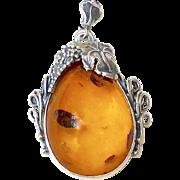 Vintage Baltic Amber with Art Nouveau Silver Frame Pendant