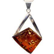 VIntage Baltic Amber, Sterling Silver Pendant