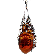 Vintage Baltic Amber and Sterling Silver Pendant