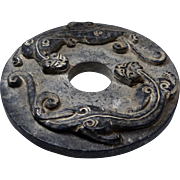 Vintage Carved Natural Chinese Black Jade Raised Double Dragon Bi Disk Pendant