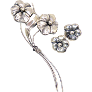Vintage Sterling Silver Art Nouveau Floral Brooch (Pin) and Matching Earrings