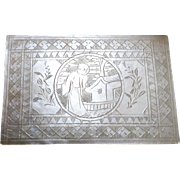 Antique 18th Century Chinese Engraved Mother of Pearl Gaming Piece