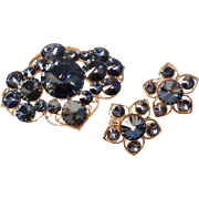Vintage 1950's Corocraft Design Signed Rhinestone Brooch/pin and Earring Set