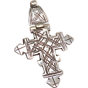 Antique African Ethiopian Coptic Hinged Silver Cross