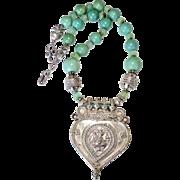 Antique Indian Silver Hanuman Pendant, Turquoise Necklace