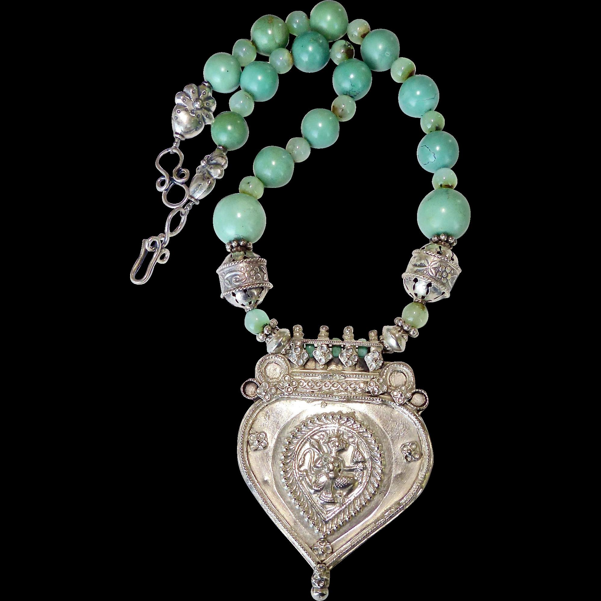 Antique indian silver hanuman pendant turquoise necklace carol antique indian silver hanuman pendant turquoise necklace carol barrett jewelry ruby lane aloadofball Images