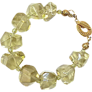 Large Clear Lemon Quarts Nuggets with Green Garnet Bracelet