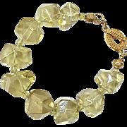 Large Clear Lemon Quarts Nuggets with Green Garnet Bracelet