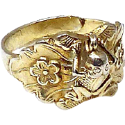 Vintage Chinese Gold Vermeil Frog Ring