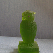 Green Glass Owl 6""