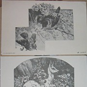 Birds and Deer Lithograph Prints Vintage-Etchings