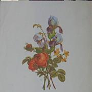 Provost Artist-A Trio of Watercolor Floral Litohgraphs