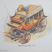 Stagecoach Lithographs-Wells Fargo Mail Delivery-Concord-Conestoga