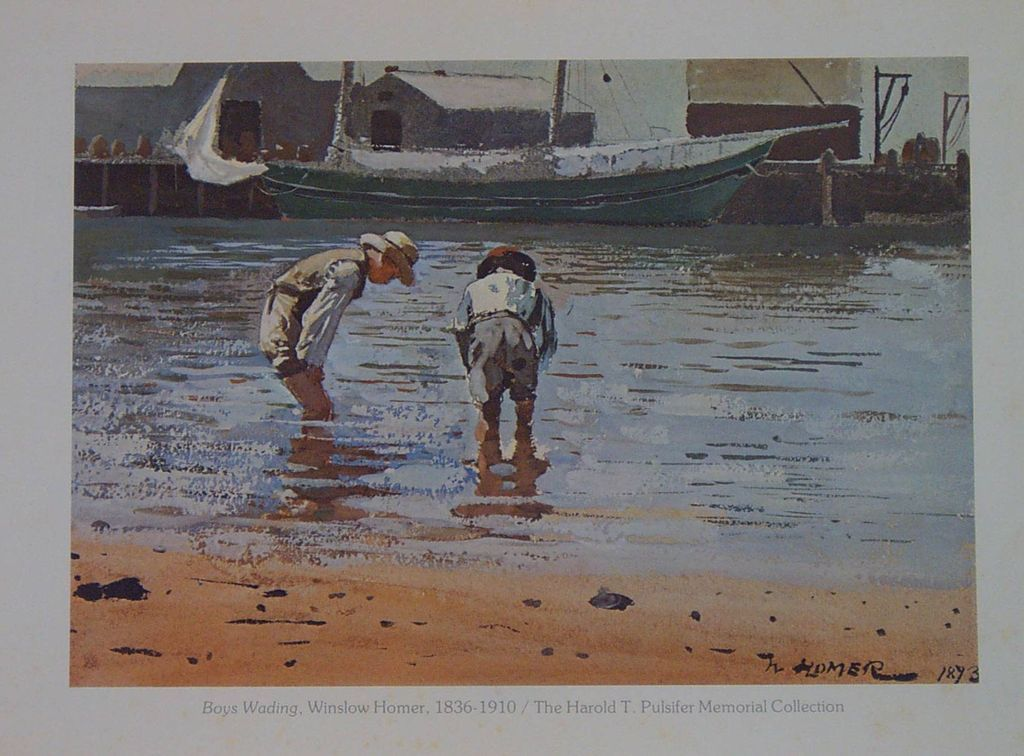 Boys Wading By Winslow Homer Watercolor Painting From