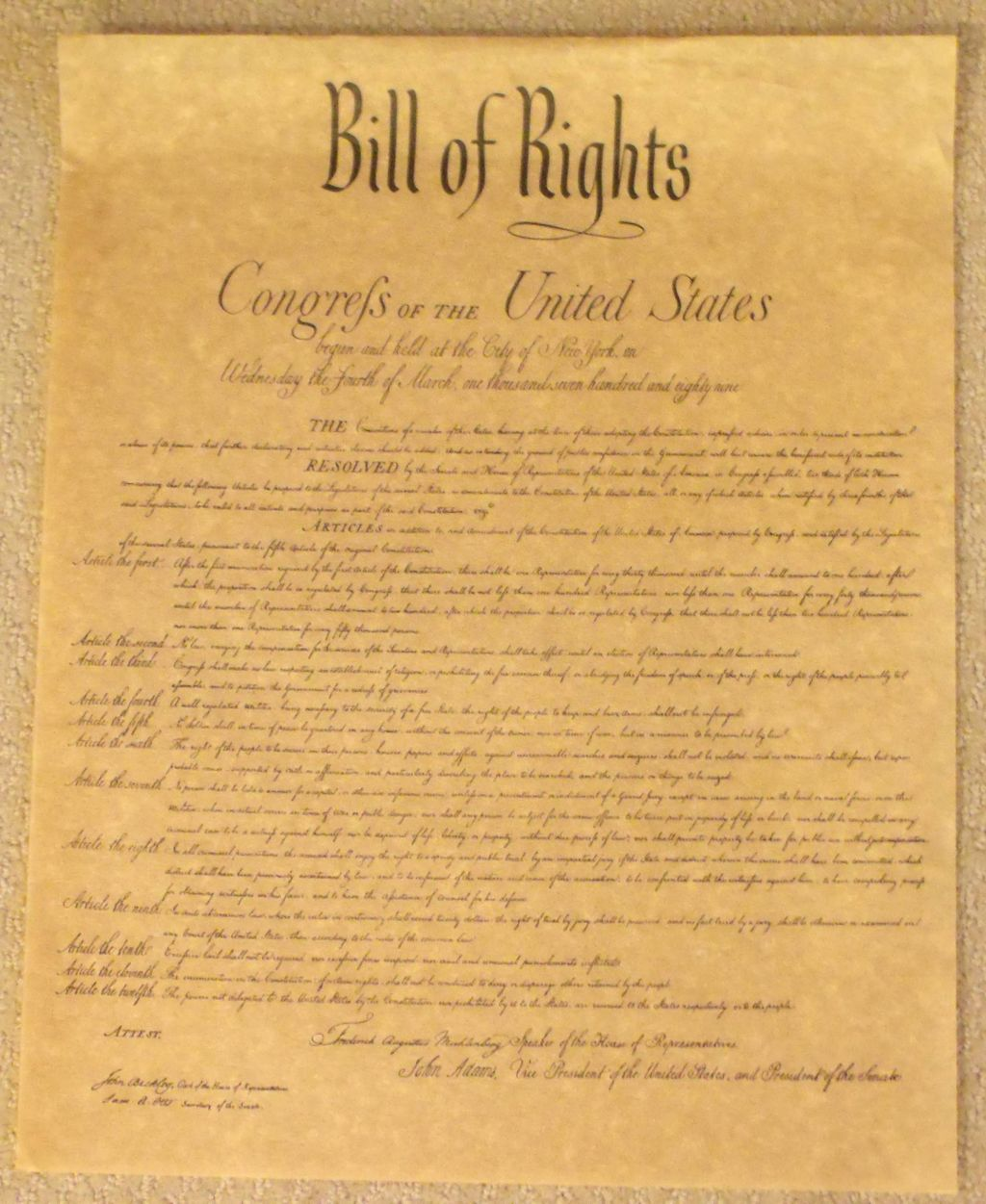 origin of the bill of rights On september 25, 1789, the first federal congress of the united states proposed to the state legislatures twelve amendments to the constitution the first two, concerning the number of constituents for each representative and the compensation of congressmen, were not ratified articles three.