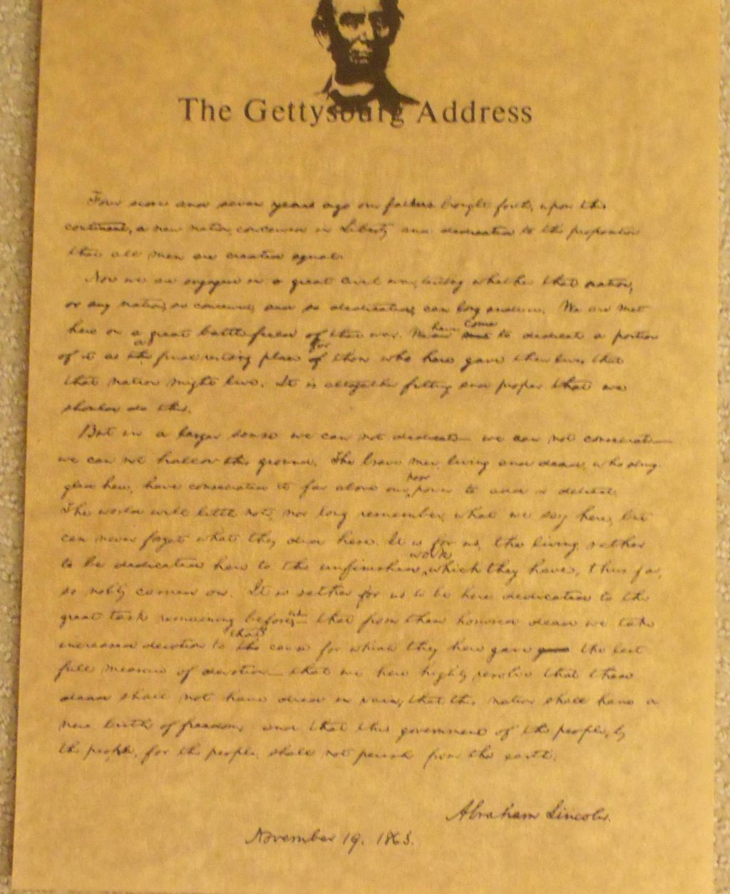a description of the gettysburg address Lincoln's gettysburg address lesson plans and teaching resources - free english learning and teaching resources from varsity tutors.