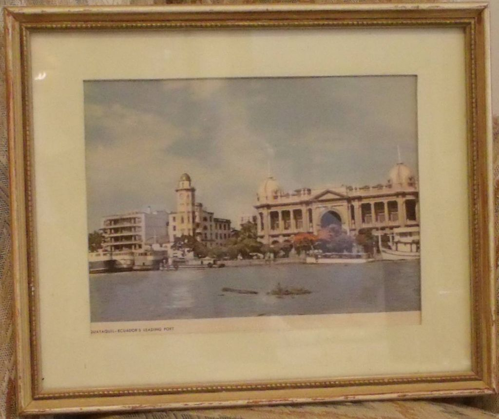 Lithograph-Equador's Port-Quayaquil-Vintage Art-Framed Print