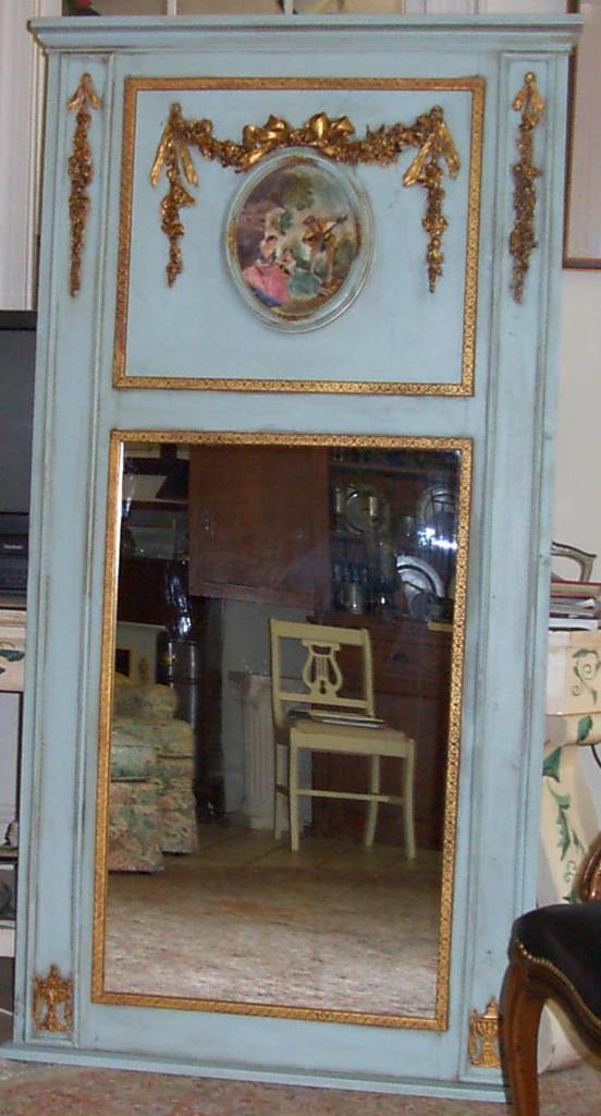 Trumeau Mirror Handpainted Gold Leaf Onlay Carolines