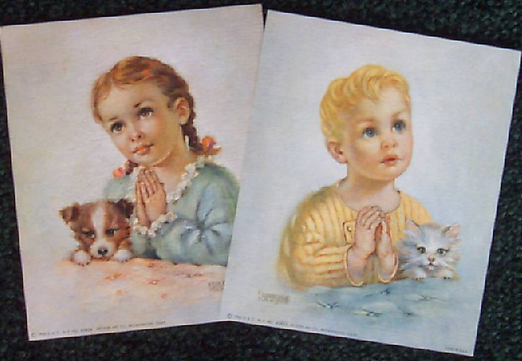 A Pair of Praying Children by Florence Kroger