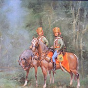 "Wolfgang Tritt Vintage Watercolor ""A Hussar's Patrol"""