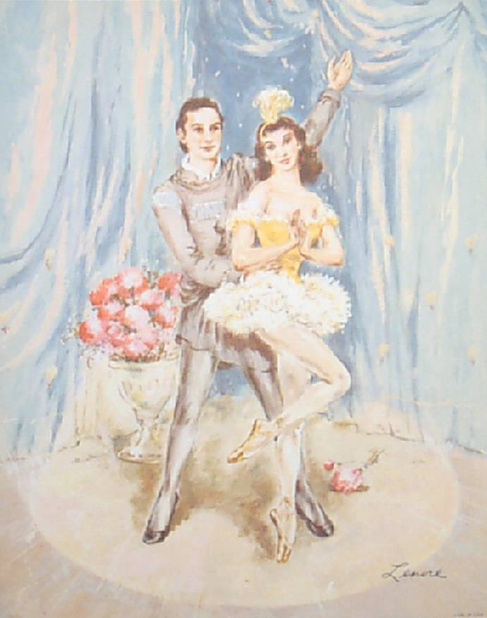 Ballerina Dancer Lithographs - Bouquet Ballet  Collection of Prints by  Lenore circa 1950