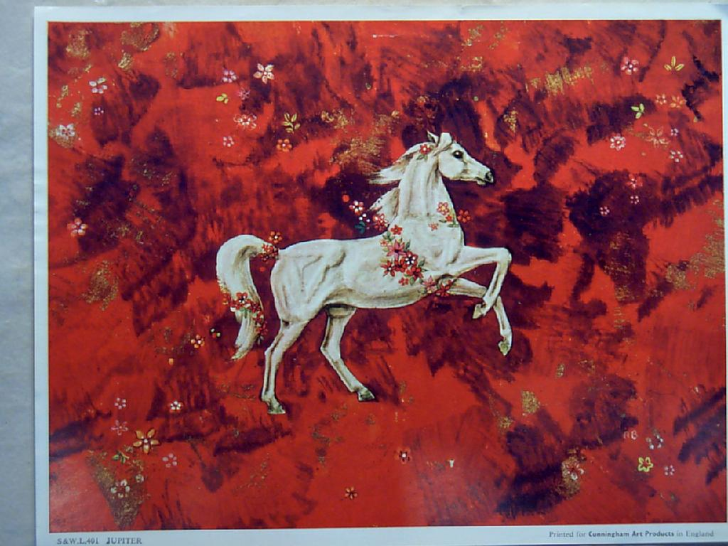Mythology White Horse on Red Background