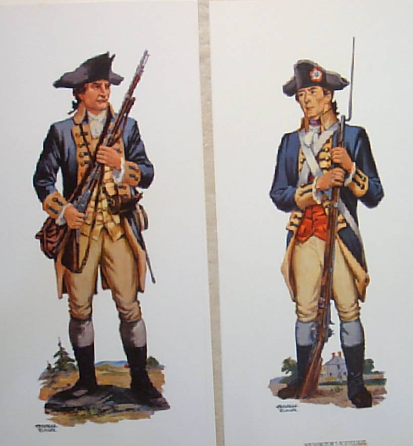 Revolutionary War Uniforms Vintage Soldier WatercolorsPrints Collection (3)