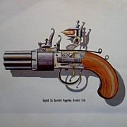Duelling Gun Prints of Vintage Pistols-Flintlock-Screw Barrel-Revolver