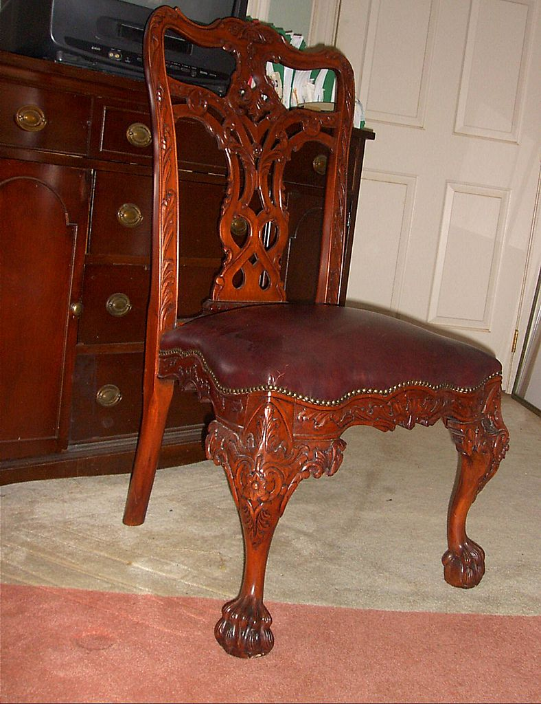 Brown Leather Side Chair - Chippendale