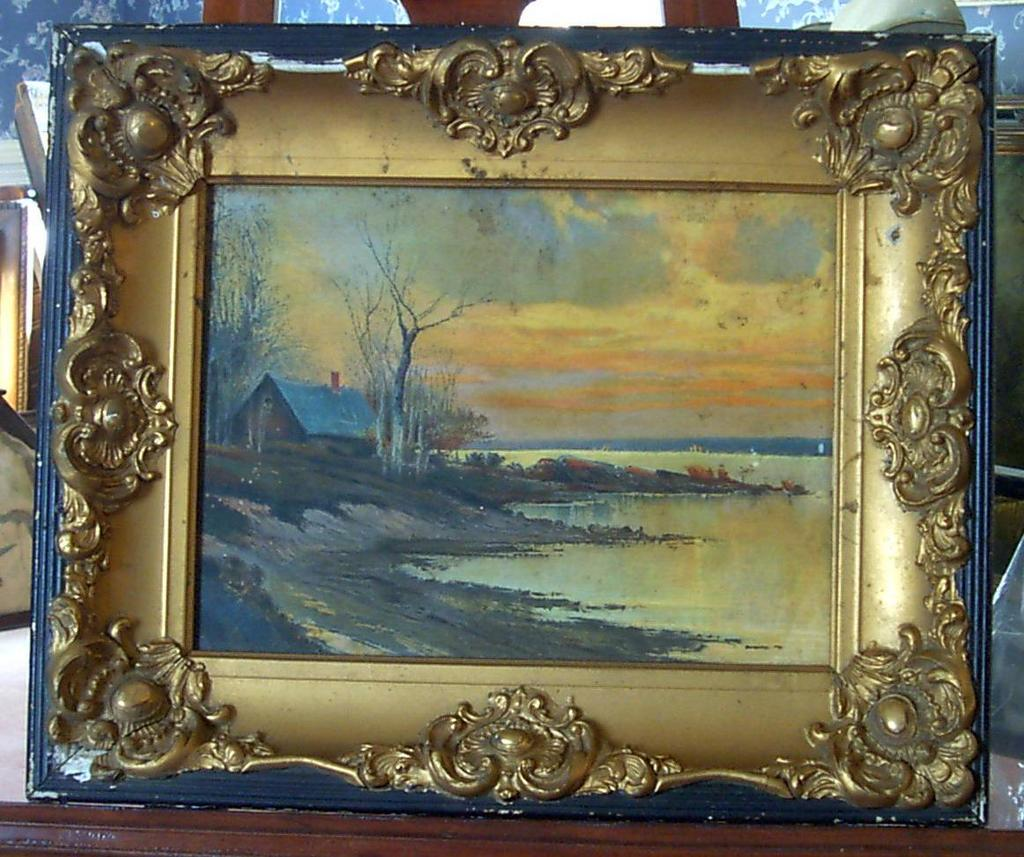 Antique Oil Painting In Gesso Frame From Carolines