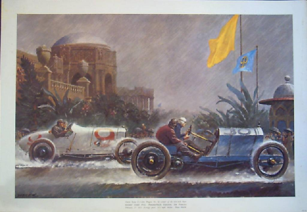 Helck Painting-Racing Lithograph - Peter Helck