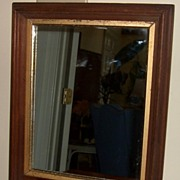 Mirror Antique Walnut Frame w Gold Liner