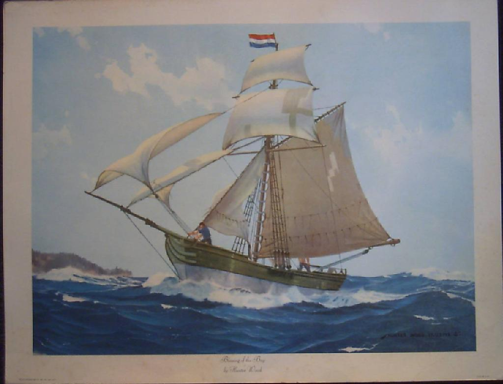 "Marine Ship Lithograph ""Blessing of the Bay"" by Hunter Wood"
