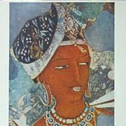 Head of an Apsaras.  Detail Lithograph