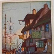 "English Street Scene Lithographs, ""A Riverside Tavern"""
