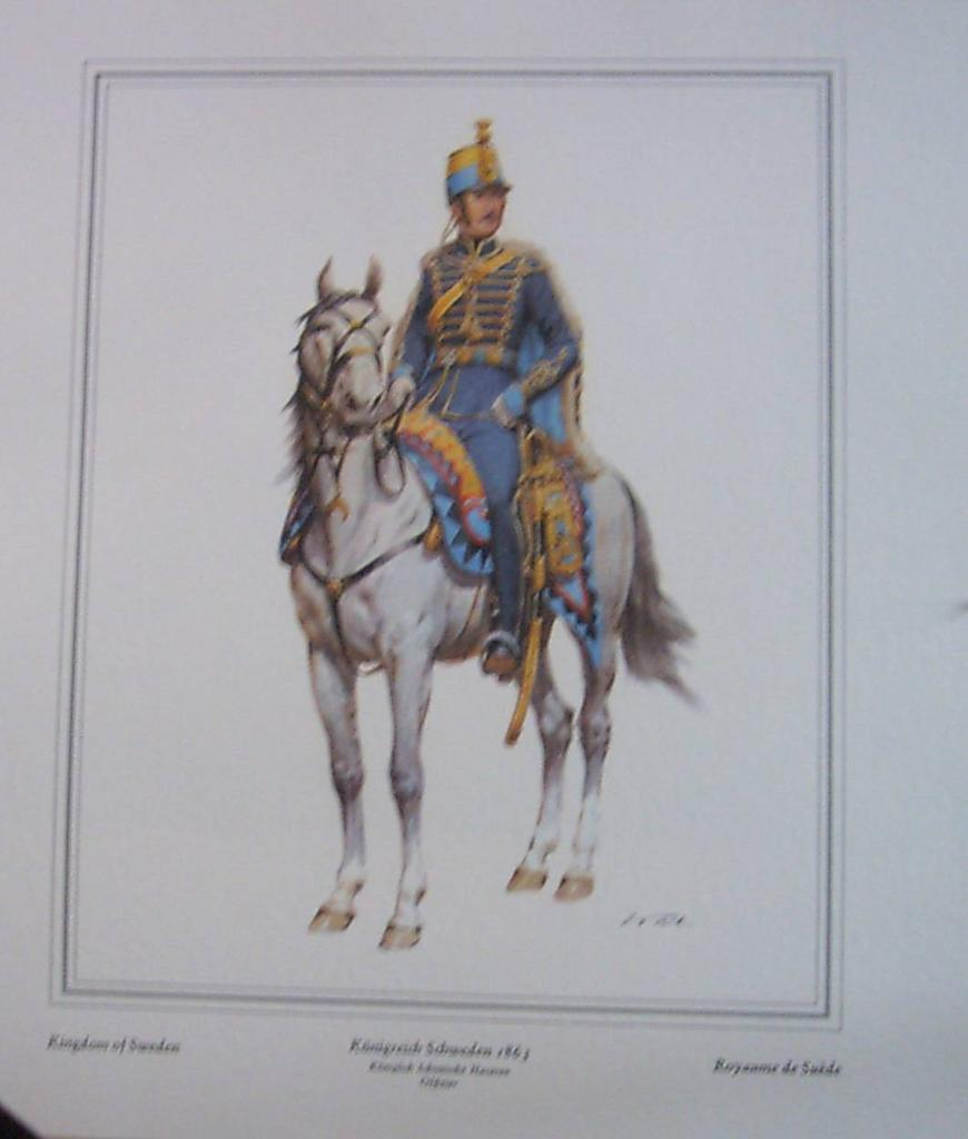 Soldier Officer-Kingdom of Sweden-Lithograph