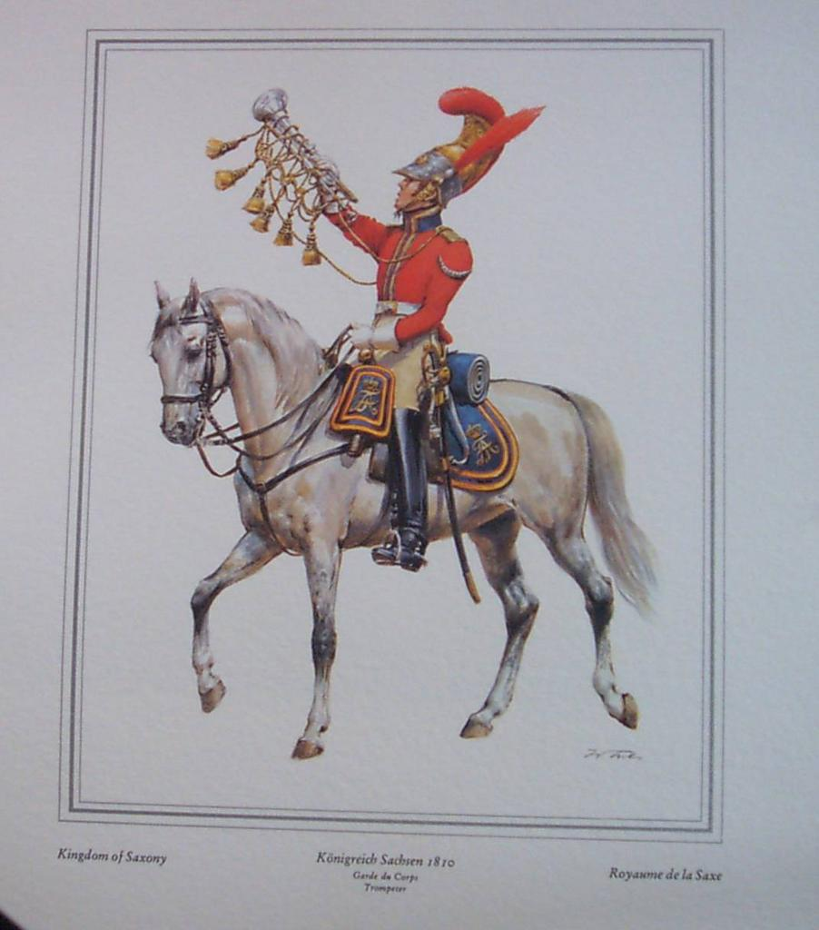 Officer Soldier Kingdom of Saxony-Lithograph