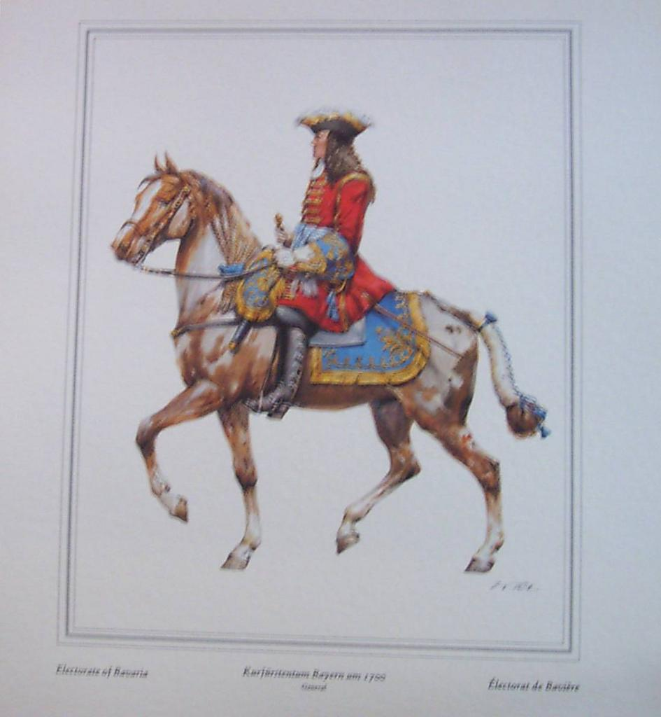 Officer Soldier Electorate of Bavaria-Lithograph