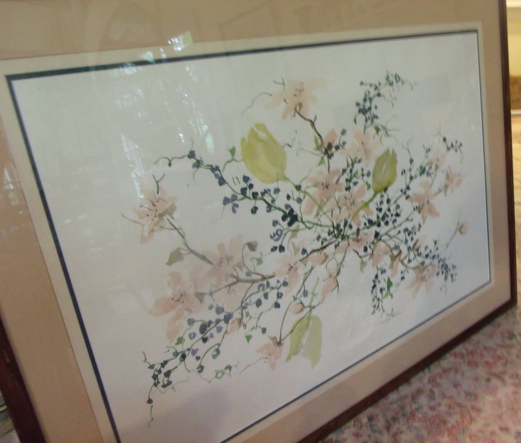 Original Watercolor-W. Winterle Olson-Embossed Vase of Flowers