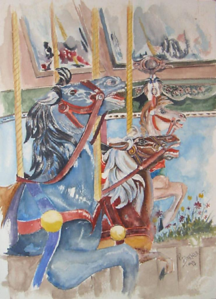Original Watercolor Painting by Patricia Brewer-Carousel 1